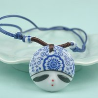 beauty happiness - Trendy characteristic red happiness design handmade Chinese folk style beauty face ceramic pendants Necklace J60C SS0050