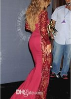 beyonce gowns - Hot Beyonce Video Music Awards Celebrity Dresses With Long Sleeve Crew Neck Sweep Train Red Carpet Beading Evening Gowns Backless Formal Dr