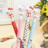 Wholesale 30 Korean Cute Cartoon Hello Kitty Ballpoint Pen Kawaii Plastic Blue Ball Point Pens for Kids Gifts School Stationery