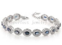 Wholesale Natural sapphire chain bracelet Original real blue sapphire sterling silver Perfect Jewelry Fine gemstone DH