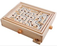 Wholesale New Board Games Parent and Kids Classic Wooden Ball Maze Challenge Balance GAME Development Brain Material Woodiness G