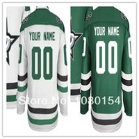 best dallas - Factory Outlet Customize Dallas Star New Style Green White Hockey Jerseys Sewing On Best Jerseys Customized Your Own Name Number Jerse