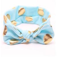 aqua metallic - headband for girls Aqua Gold Polka dot Spring Baby Toddler headband Metallic Cotton baby girls headband
