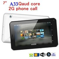 Cheap Wholesale-discount!!cheapest tablet pc 7 inch AllWinner A33Quad Core Bluetooth WIFI+512MB 4GB+ Android 4.4+2G GSM phone call tablet pc