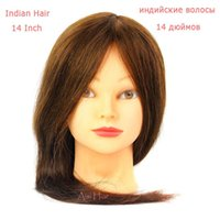 Wholesale 16 quot Indian Human Hair training head Hairdressing Cutting Training Mannequin Head High Quality can be dyed be used hair sticks