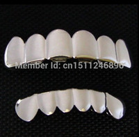 Wholesale REAL SHINY REAL SILVER PLATED HIP HOP TEETH GRILLZ TOP amp BOTTOM GRILL SET