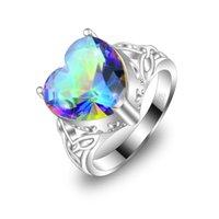 mystic topaz - Weddings Jewelry Valentine s Day Gift Heart Rainbow Fire Mystic Topaz Gemstone Sterling Silver Ring