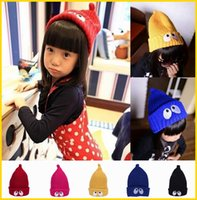 Wholesale Children Knitted Crochet Big Eye Beanie Skull Caps Winter Warm Kids Pocket Cuff Hats Mix Colors Choose EQF