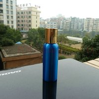pharmaceutical raw material - 80ml aluminum blue bottle With gold aluminum cap cosmetic container for essential oils pharmaceutical raw materials
