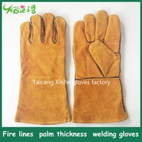 ab thickness - Fire lines palm thickness high quality AB Level welding hand gloves industrial heat resistant glove