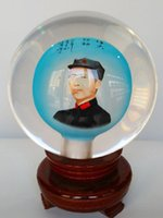 antique blue china - 2016 New Chinese glass handicraft glass globe terrarium inner Mao Zedong head decorations crystal ball