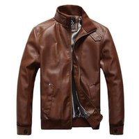 Wholesale Fashion Man Windproof Leather Jacket Large Size M XL Black Brown Men s Clothing Mandarin Collar Men Casual Coats