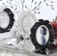 Wholesale 100PCS Oval Baroque photo frame Card Photo Holder White Black Color Option