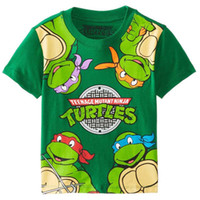cartoon print t-shirt - Children cartoon Printing ninja turtle Boy short sleeved T shirt summer kids baby clothes B001