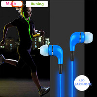 Wholesale Most Popular Sport Visible Flowing LED Glow Flash Light Stereo Earphone With Mic EL Glowing Headsets for Smartphone ipad ipod