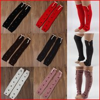 Wholesale 6 Colors CM G Pair Crochet Leg Warmer Women Button Knitted Lace Trim Down Leg Warmers Boots Covers Knee High Stockings Pairs
