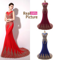 Wholesale 2015 Elegant Pageant Dresses Cheap IN STOCK Mermaid Crew Appliques Red Black White Green Mint Burgundy Long Prom Evening Dresses Party Gowns