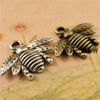 bee charming jewelry - pieces antique bronze silver plated vintage style metal zinc alloy bee pendant charm jewelry hd2847