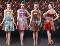 Sequin ballroom dresses - Women Shine Sequined Latin Dance Dress Gradient Colors Stage Wear Ballroom Gallus Straps Dresses Gradual Patchwork Dancing Clothing Costumes