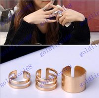 polished rocks - Hot sale Korean Newest Shiny Punk Polish Gold Stack Plain Band Midi Mid Finger Knuckle Ring Set high quality Rock colors