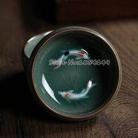 Wholesale 2pcs Chinese Longquan Celadon Porcelain Teacup and SaucerTea Bowl with Golden Fish ml Chinese Tea Pot Celadon Crackle Teacups