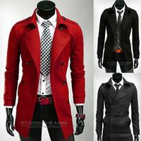 Men tweed jacket - Trend new arrive men coat double breasted wool coat man jacket long overcoat men outerwear lapel trench coat men clothing