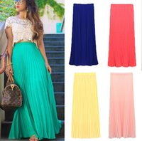 maxi - Spring Summer Fashion Long Chiffon Skirts Female Candy Color Pleated Maxi Womens Skirts New CHIC W3374