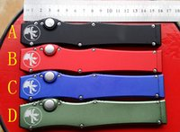 Wholesale High quality New HOT SALE MICROTECH HALO V Stonewash Plain single action knife Tanto Edge Tactical D2 knife knives in original box red
