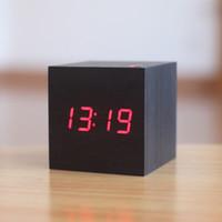 antique wood board - Modern Bedside Alarm desk Clock Luminous Digital Watch Board living room LED table clocks mini wood Despertador with Calendar