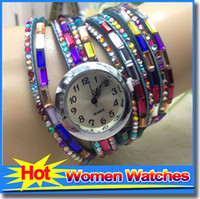 best decorating - Best Diamond Watch Bracelet Long Chain Multicolor Twine Leather Watch Straps Women s Dress Decorate Quartz Wristwatch