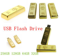 al por mayor unidades flash usb de metal-Barra de oro de 64 GB 128 GB 256 GB USB del metal tarjeta de la impulsión palillo de memoria Flash Pendrive unidad flash USB Pen Drive