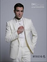 Wholesale New Custom Made Groom Tuxedos Groomsmen Shawl Collar Men Wedding Suits Jacket Pants Tie Girdle