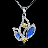 Wholesale Sell Swarovski Necklace - Hot selling New arrive Swarovski elements 925 silver gorgeous design beautiful and noble wedding blue zricon necklace jewelry N558