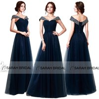 long corset - Navy Blue Evening Dresses Corset and Tulle Long Prom Cheap Crystals Beaded Sequins Off The Shoulder Cheap In Stock Formal Party Gowns