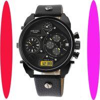 Wholesale 2014 hot new men s luxury fashion brand quartz watch big dial leather strap watch Japanese quartz blue lens dial calendar DZwatch time zones