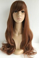 Wholesale 2016 Soft Degre Hair Sexy Fashion brown Colors Long Wave Lady s Synthetic Hair Wig Cosplay Wig Cup for