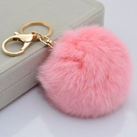 skeleton key - Cute Genuine Leather Rabbit fur ball plush key chain for car key ring Bag Pendant car keychain
