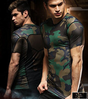 compression shirt - Mens Outdoor Quick Dry Camouflage tight shirt Jogging Compression tshirt Running shirt Clothes Camo Gym workout fitness Shirts Factory price