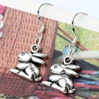 antique rabbits - MIC x31 mm Antique Silver Cute Sitting Rabbit Bunny Charm Pendant Earrings Silver Fish Ear Hook E498