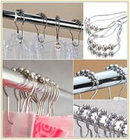 Wholesale New Set of Brushed Nickel Bathroom Rollerball Shower Curtain Rings Hooks with Roller Balls x4cm and fast ship to you