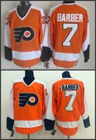 barber logos - cheap men hockey jersey Philadelphia Flyers Bill Barber orange jerseys mix order stitched logos size S XL