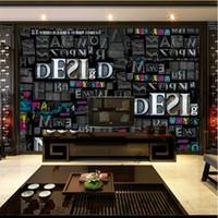 bar interiors design - Personalized Custom photo wallpaper D Letters Wall Murals Modern Wallpaper Kids Room Decor Bedroom Bar Sitting room Interior Design Gray
