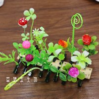active plants - 2016 packages mail show MOE artifact small bean sprouts clip hairpin Simulation on grass plant hair clips A clover mushroom cherry