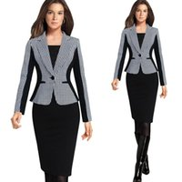 Women Dress Suit Crew Neck 2016 Fashion New Long Sleeves Plaid Women Blazers S-3XL Plus Size Office Lady Work Tops Free Shipping Women Clothes OXLN82