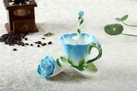 enamel paint - European Porcelain Bone China Enamel Flower Coffee Cup Set Creative Tea Cup Set Franc Painting Fashion Set