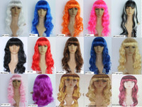 Wholesale Fashion New Sexy Womens Long Curly Full Wig Party Cosplay Fancy Dress Costume Wigs Colors fx200