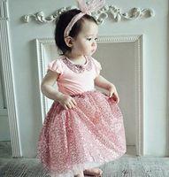 dolls clothes - 2015 New Cute Baby Girls Sequins T Shirt Fashion Ruffles Sleeve Doll Collar Children Tee Shirt Korean Kids Tops Summer Clothing B3507