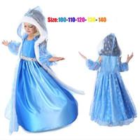 Cheap 10sets Frozen clothes Elsa princess dress Elsa Anna dresses Costume Blue flower girls party dress kids cosplay dresses Christmas gifts