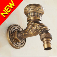 antique brass bathroom sink faucets - New Retro Decorative Outdoor Faucets Antique Bronze Dragon Carve Bathroom Basin Faucet Wall Mounted Vessel Sink Tap