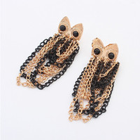 Wholesale Earrings Jewelry Fashion Women Gold Black Plated Multilayer Chains Tassel Alloy Owl Stud Earrings Drop Shipping ER544